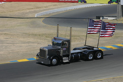 Truck with flags