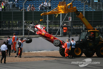 Felipe Massa, Scuderia Ferrari after crashing into the tyre wall at Stowe corner