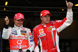 Pole winner Heikki Kovalainen with third place Kimi Raikkonen