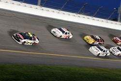 Dale Earnhardt Jr. leads a group of cars