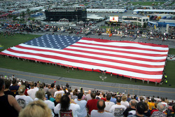 The American flag during National Anthem
