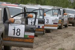 Porsche Cayenne S Transsyberia vehicles during the Porsche training event in Leipzig