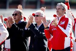 Maurizio Arrivabene, Team Principal Scuderia Ferrari, Piero Ferrari and Sergio Marchionne, Ferrari President and CEO of Fiat Chrysler Automobiles