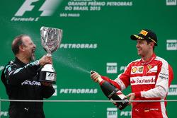 James Waddell, Mercedes AMG F1 with third place Sebastian Vettel, Ferrari SF15-T