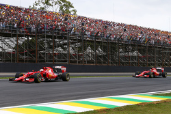 Sebastian Vettel, Ferrari SF15-T lead team mate Kimi Raikkonen, Ferrari SF15-T