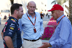 Christian Horner, Red Bull Racing Team Principal with Donald Mackenzie, CVC Capital Partners Managing Partner, Co Head of Global Investments and Niki Lauda, Mercedes Non-Executive Chairman