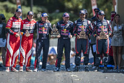 Car category podium: winners Stéphane Peterhansel, Jean-Paul Cottret, second place Nasser Al-Attiyah and Matthieu Baumel, third place Giniel de Villiers, Dirk Von Zitzewitz
