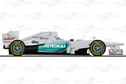 The Mercedes W03 driven by Michael Schumacher in 2012