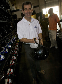 Drivers and media go-kart event: ex-race car driver and NAPA Auto Parts 200 spokesperson Bertrand Godin gets ready