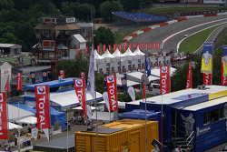 Looking at Eau Rouge, from the F1 paddock