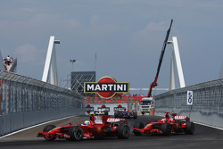 Felipe Massa, Scuderia Ferrari, F2008 and Kimi Raikkonen, Scuderia Ferrari, F2008