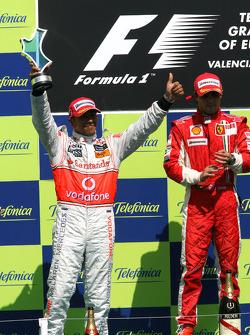 Podium: second place Lewis Hamilton