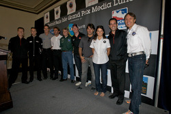 Detroit Grand Prix media lunch at the Detroit Yacht Club: drivers pose on stage