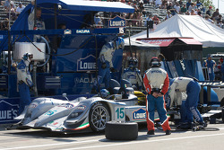#15 Lowe's Fernandez Racing Acura ARX-01B Acura: Adrian Fernandez, Luis Diaz in the pit with left rear suspension damage
