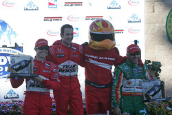 Podium: Helio Castroneves, Ryan Briscoe, Tony Kanaan, and the Firehawk