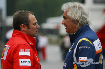 Stefano Domenicali, Scuderia Ferrari, Sporting Director and Flavio Briatore, Renault F1 Team, Team Chief, Managing Director