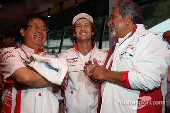 George Tadashi Yamashina, Toyota Motorsport Vice Chairman, Jarno Trulli, Toyota Racing and Vijay Mallya, Force India F1 Team, Owner and Kingfisher CEO