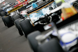 The GP2 cars wait to exit the pitlane