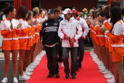 Timo Glock, Toyota F1 Team and Nick Heidfeld, BMW Sauber F1 Team