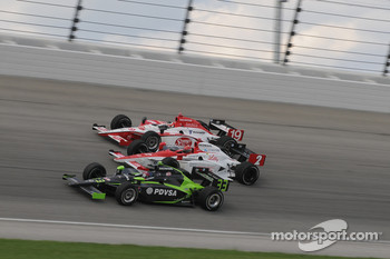 Ernesto Viso, A.J. Foyt IV, and Mario Moraes run together