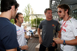 Mark Webber, Red Bull Racing, Jarno Trulli, Toyota Racing, David Coulthard, Red Bull Racing and Jenson Button, Honda Racing F1 Team