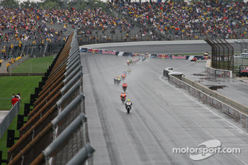 Andrea Dovizioso leads the field on the opening lap