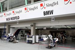 The pit garage of BMW Sauber F1 Team