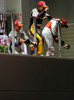 Podium: race winner Fernando Alonso, second place Nico Rosberg, third place Lewis Hamilton