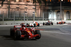 Kimi Raikkonen, Scuderia Ferrari, F2008 leads Adrian Sutil, Force India F1 Team, VJM-01