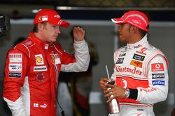 Pole winner Lewis Hamilton, second place Kimi Raikkonen