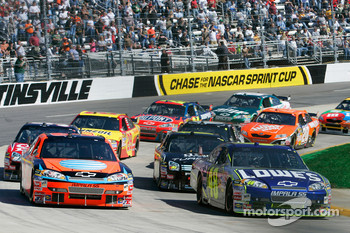 Jimmie Johnson and Jeff Burton lead the field to the green