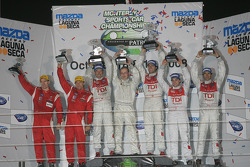 P1 podium: class and overall winners Lucas Luhr and Marco Werner, second place Emanuele Pirro and Christijan Albers, third place Johnny Mowlem and Stefan Johansson