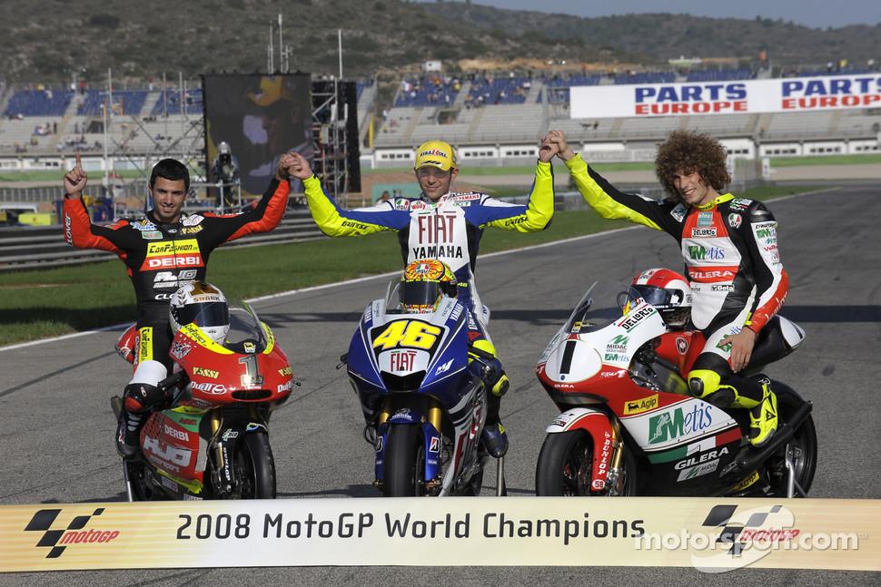 2008 MotoGP World Champions photoshoot: 125cc champion Mike Di Meglio, MotoGP champion Valentino ...