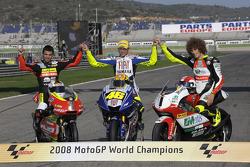 2008 MotoGP World Champions photoshoot: 125cc champion Mike Di Meglio, MotoGP champion Valentino Rossi, 250cc champion Marco Simoncelli
