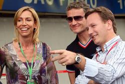 Anita Gerhardter, David Coulthard and team principal Christian Horner