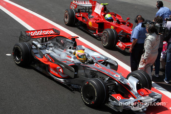Pole winner Felipe Massa and Lewis Hamilton