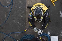DeWalt crew member practices tire change