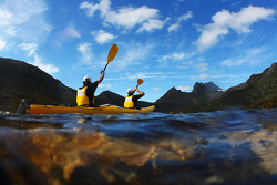 Launceston, Australia: competitors paddle out onto Dove Lake