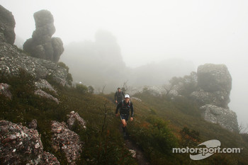 Launceston, Australia: competitors cross the peak of Mount Claude