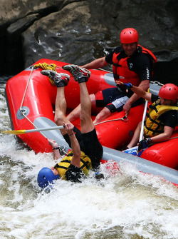 Launceston, Australia: a competitor falls into the water from his raft