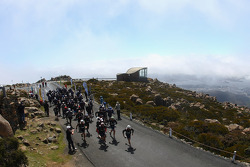 Hobart, Australia: competitors leave the start at the top of Mount Wellington