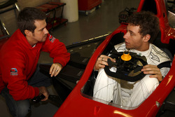 Fabrizio Crestani has a seat fitting and talks to Tiago Monteiro, Team Manager of Ocean Racing Technology