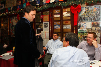 Three-time NASCAR Sprint Cup Series champion Jimmie Johnson talks with media at Foley's