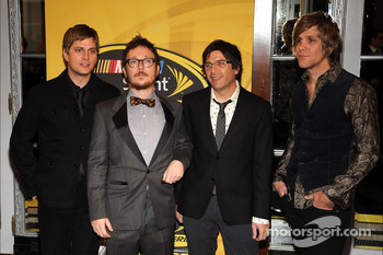 Rob Thomas, Paul Doucette, Brian Yaleand and Kyle Cook of the rock band Matchbox Twenty arrive at the NASCAR Sprint Cup Series Awards Ceremony at the Waldorf=Astoria