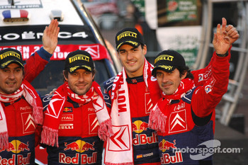 Podium: rally winners Sébastien Loeb and Daniel Elena, third place Daniel Sordo and Marc Marti