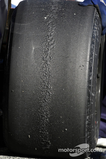 Rear Bridgestone tyre on a Renault F1 Team