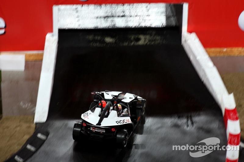 Michael Schumacher on the bridge with Tom Kristensen in the passenger seat