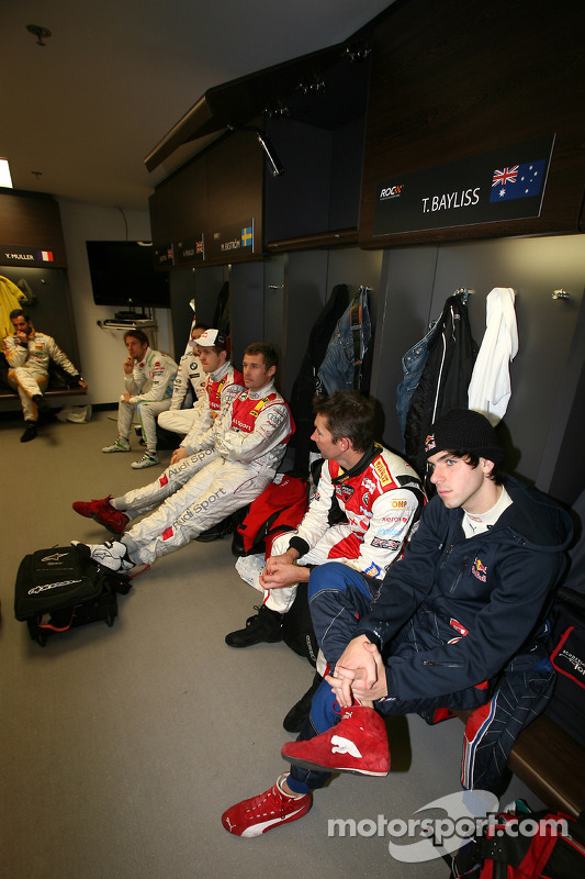 Jaime Alguersuari, Troy Bayliss, Tom Kristensen and Mattias Ekström in the drivers' briefing