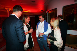 Tamara Ecclestone Sky TV Presenter and Christian Horner Red Bull Racing Sporting Director at the Fly Kingfisher Boat Party