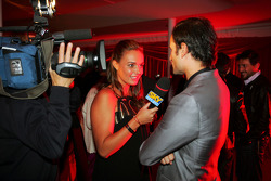 Tamara Ecclestone Sky TV Presenter with Vitantonio Liuzzi Force India F1 Third Driver at the Fly Kingfisher Boat Party